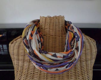 snood scarf made with a ruffled cotton ethnic