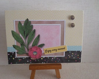 card for any occasion with leaves, 3D flower