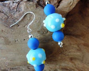 Earrings Zen Stupa blue blown glass beads. Blue acrylic beads. Silver bail.