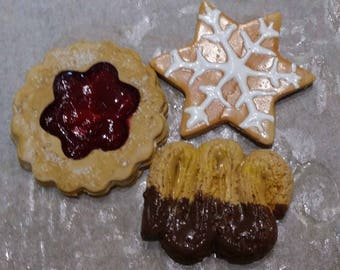 MAGNET SET OF 3 CHRISTMAS COOKIES 100% HANDCRAFTED
