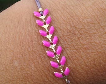 hot pink ear of wheat bracelet