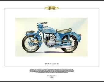 DMW Dolomite II Motorcycle Fine Art Print - Villiers 2T 249cc 2-stroke motorbike