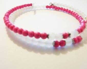 Bracelet shape memory frosted & pink