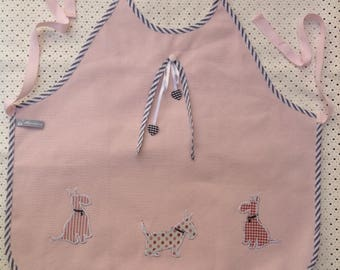 Apron pink girl, light pink cotton original child apron, apron 3/6 years old girl