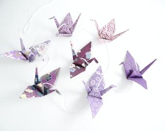 Garland origami cranes Japanese paper purple