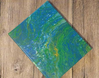 Acrylic Original Canvas Wrapped Abstract Painting (8x10 inches) - Green Lagoon