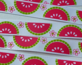 "4 m printed grosgrain Ribbon ""watermelon"" white background - Largeur16mm"