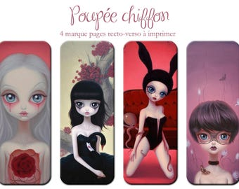 "4 bookmarks digital ""Illustration, girls rag doll"" printable sending by MAIL"