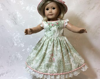 American Girl Doll Dress Green and Ivory Southern Belle Style