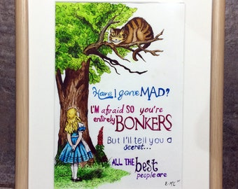 Alice in Wonderland Watercolour Painting Framed