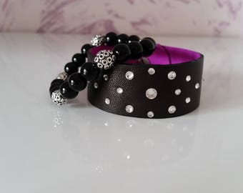 Natural leather bracalet with Swarovski