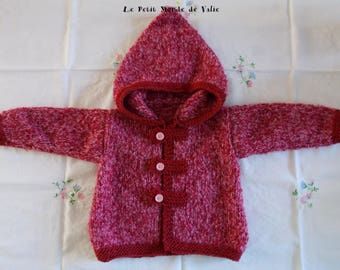 12 months pink marl hooded jacket