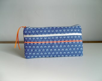 Case for glasses or small make-up /coton Japanese indigo