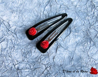 2 black with red rose hair clips