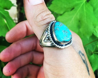 Men's Turquoise Ring Size 10 Sterling Silver Handmade