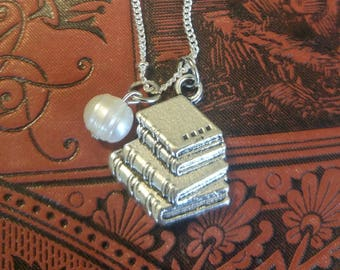 "Stack of Books Charm with Real Pearl Accent Necklace 26"" Silver Tone Pendant Fashion Jewelry for Book Lovers Great Gift"
