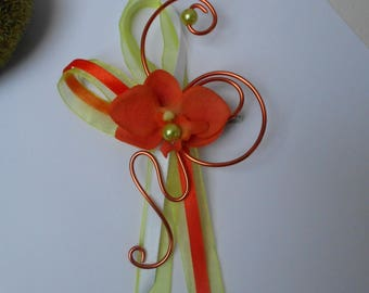 Brooch for bride - back train - Orange, lime green and white