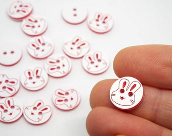 Cute Rabbit White and Red Buttons 13mm 2 hole Buttons Bunny Buttons Small Buttons