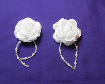 White silk flower hair clip