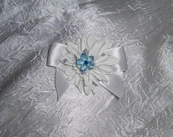 White and Blue Ribbon and flower wedding boutonniere