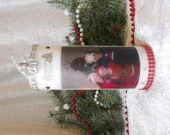 Candles personalized with photo for Christmas and new years red / silver