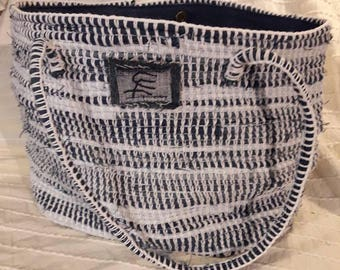 Crochet cotton and recycled denim cabat bag