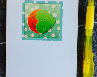 Greeting card Over the Moon (blank with green border)