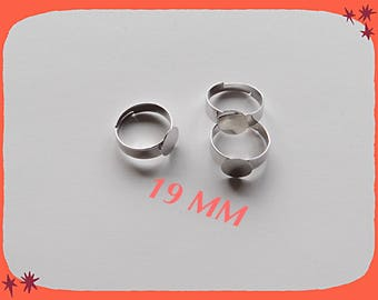 ring adjustable 18 mm silver metal with a set of 8 mm