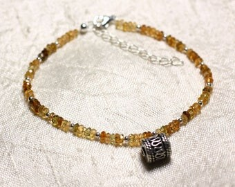Bracelet 925 sterling silver and stone - Petro Tourmaline faceted rondelles 3mm