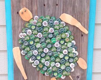 Bottle cap art Sea Turtle