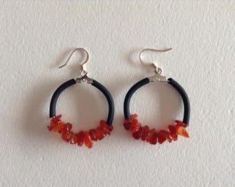 Black pvc cord carnelian hoop earrings