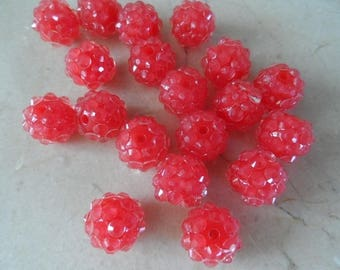 set of 20 12 mm red shamballa beads