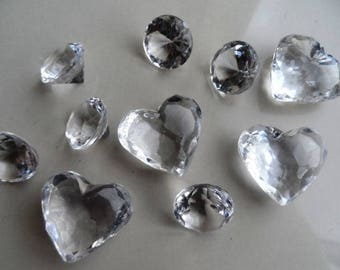 set of 10 diamonds acrylic decoration collection