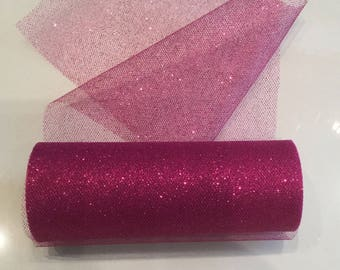1 meter of tulle with hot pink glitter width 15 cm