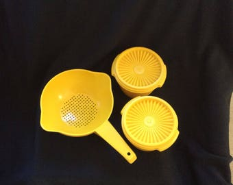 Tupperware Yellow bowls and Strainer, two servailer yellow gold bowls, handle strainer 2 quart double spout colander, retro kitchen gift