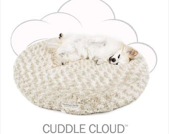 Peluche Plush Cuddle Cloud Round Rose Petal Fawn Dog Bed