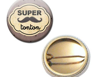 Badge 25 mm - great uncle mustache family Uncle parent child gift