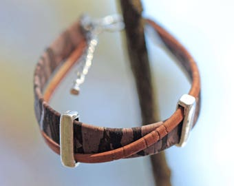 Bracelet Brown and camel, Cork 2 silver metal beads