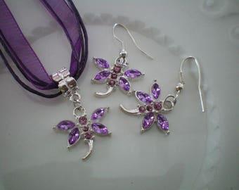 Purple rhinestone Dragonfly earrings and pendant set
