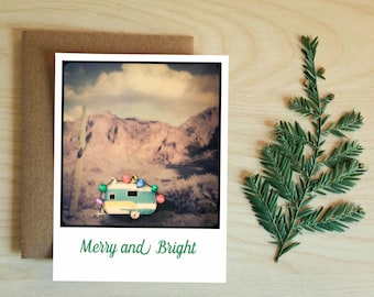 Christmas Trailer in the Desert Card. Christmas Cards. Greeting Cards.