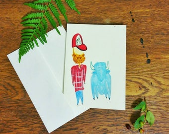Paul Bunyan and His Babe Trucker Hat // Hand Painted // Watercolor Card