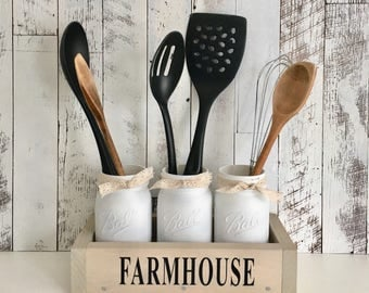 Farmhouse Table Centerpiece/Centerpiece Box/Mason Jar Utensil Holder/Wood Table Box/Wood Box Centerpiece/Farmhouse Kitchen Decor