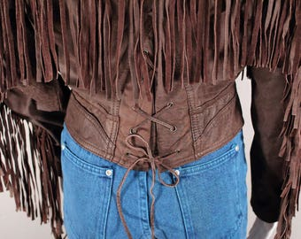 80's Brown Leather Fringe Jacket Corset Back Chia