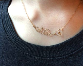 Name and pattern choice: heart, Star, flower, fish, cloud, cactus.. .etc - gold gold filled - Choker