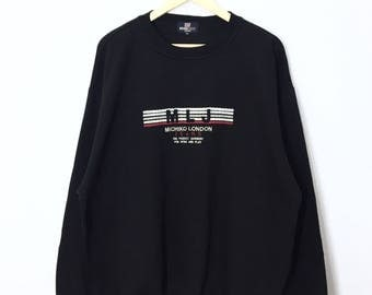 RARE!! Michiko London Sweatshirt Michiko London Jeans Embroidery Spell out Front and Back Sweater Jumper Pullover