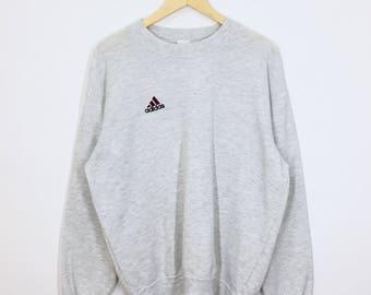 SALE!! RARE!! Vintage Adidas Three Stripes Trefoil Small Logo Embroidery Sweatshirt Jumper Pullover Sweater Hoodies