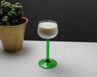 Unscented wine glass soy candles - Vintage Luminarc green stem glasses