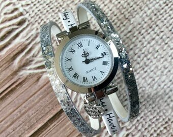 Ladies watch. SIZE M was 2018 silver bracelet round white message, Have a lovely day, and silver