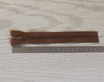 Brown zipper drop 15 cm