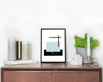 nordic print design, cubicle decor, large blue modern, now trending, black marble, modern marble print, art print 2017, modern marble art